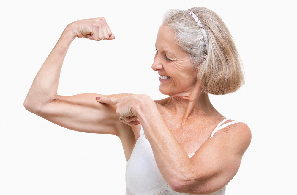 This woman keeps her muscle and bone density with resistance training. Chesapeake, VA.