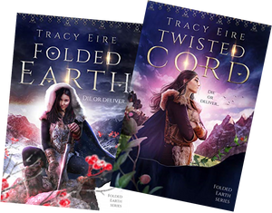 The covers of Folded Earth and Twisted Cord by Tracy Eire, showing Northern native heroine, Ora.