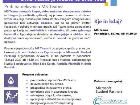 Postani mojster uporabe MS Teams in se nam pridruži na MSP delavnici!