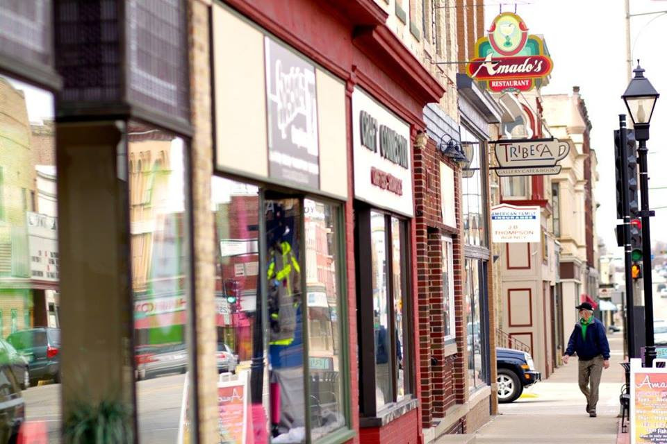 Person walking on Main Street in Watertown, WI.