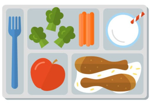 A picture of a lunch tray with a variety of vegetables, chicken drumsticks, milk and an apple with a fork on the side.