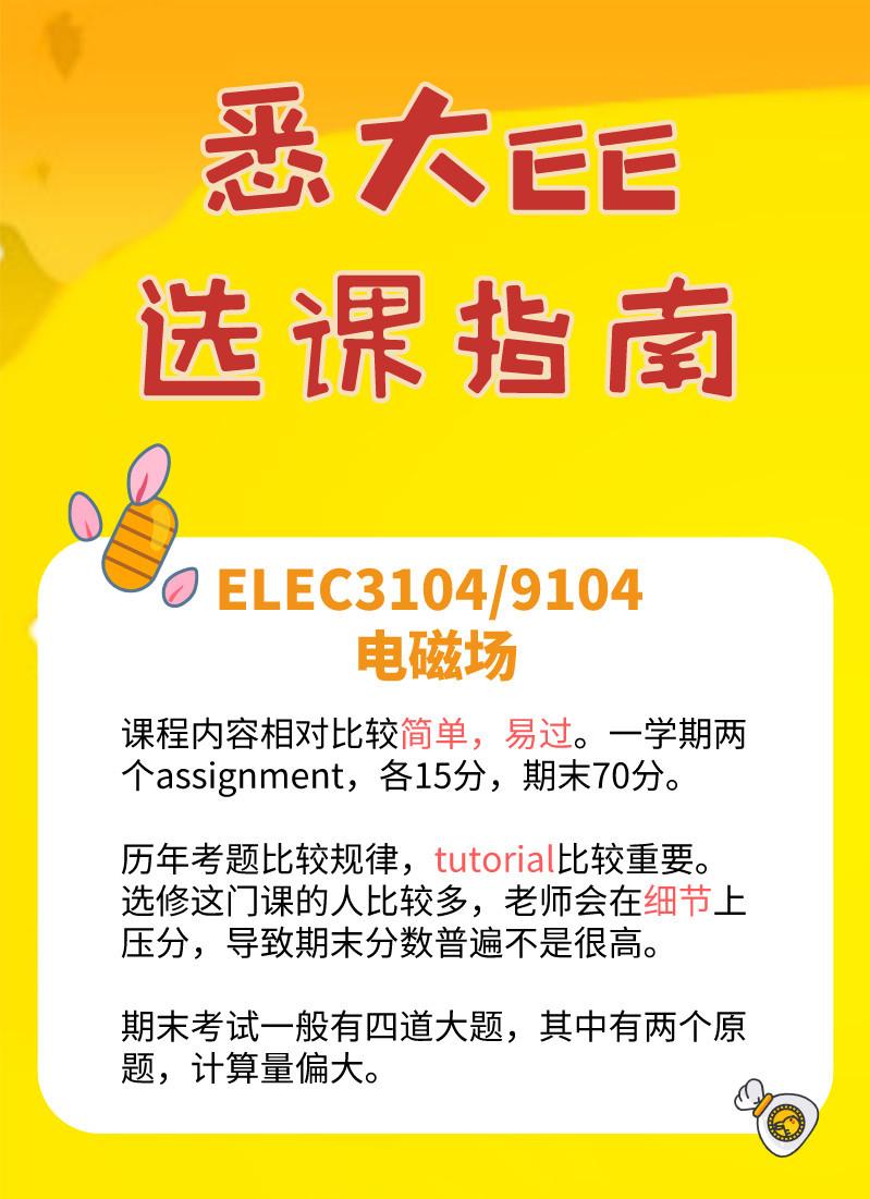 悉大,EE, Electric engineering, 选课, ELEC3104/9104