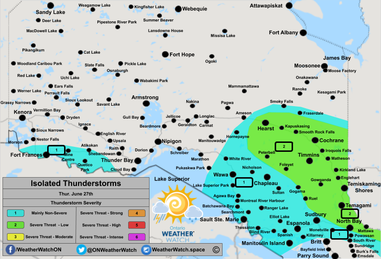 Thunderstorm Forecast, for Northern Ontario. Issued June 27th, 2019.