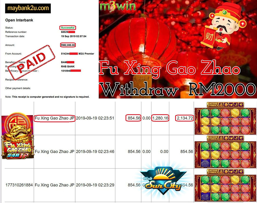 M3win member won RM 2000 within 10 minutes in Suncity slot games.