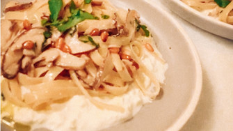 Creamy Mushroom Fettuccine w/ Burrata