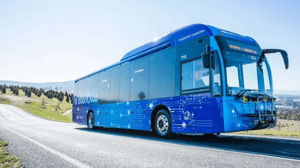 electric bus on road