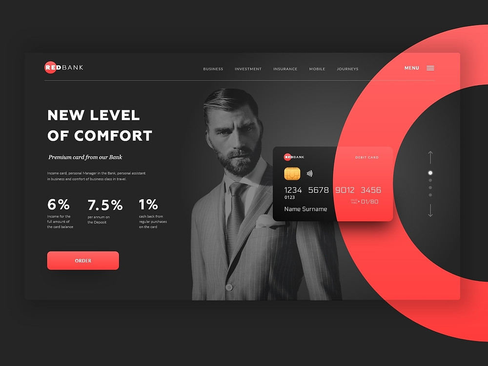 Redbank card design and overview of user interface (UI).