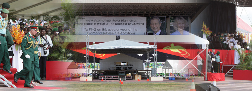 The Prince of Wales & The Dutches of Cornwall Royal Visit to Port Moresby, Papua New Guinea for the Diamond Jubilee Celebrations.