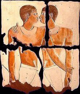 same sex couple depicted in cave painting