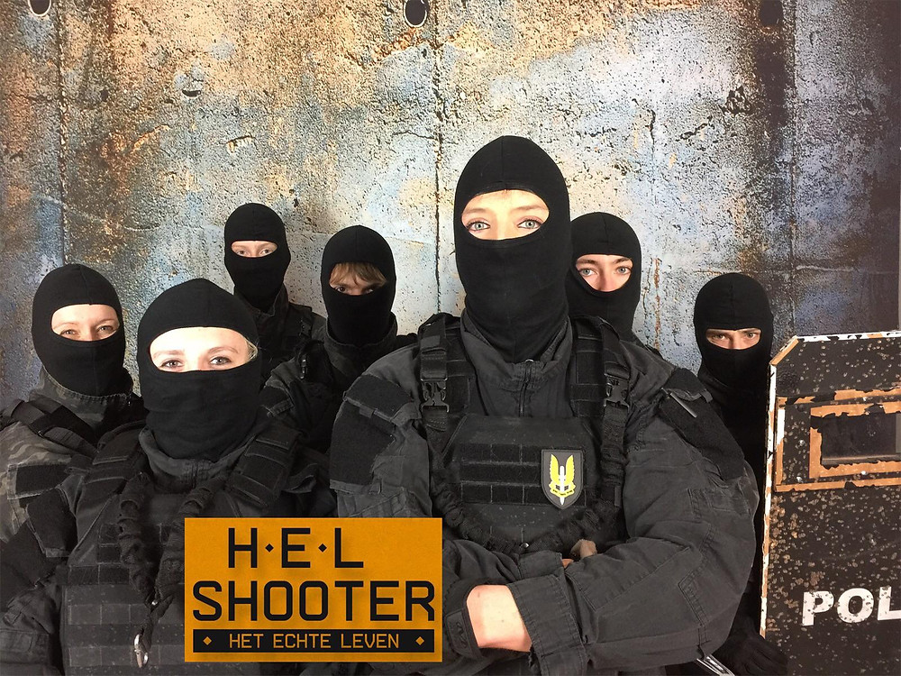 H.E.L. shooter, Helshooter is een ultimate must to do airsoft shooter game. intense Missie, Real life Larp game in Woerden.