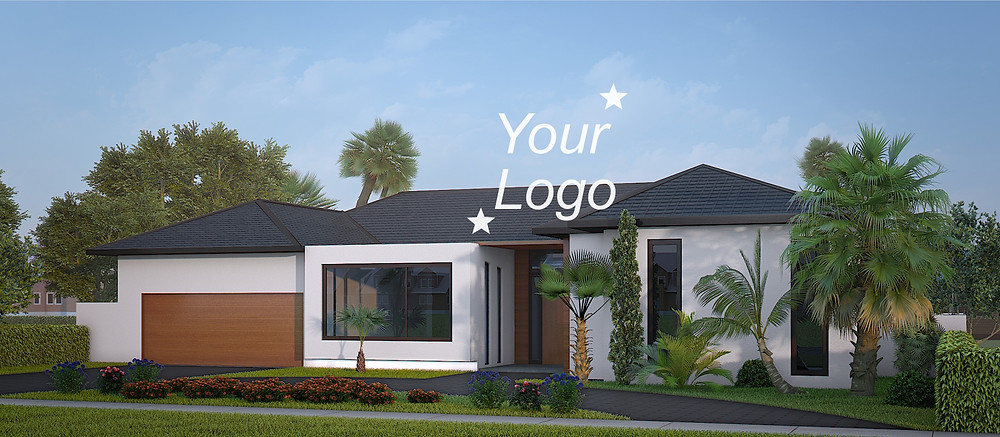 Exterior 3d renderings with the logotype placed accidentally