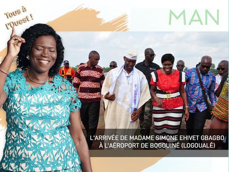 MAN 2019 : L'ARRIVÉE DE MADAME SIMONE EHIVET GBAGBO À L'AÉROPORT DE BOGOUINÉ (LOGOUALÉ)
