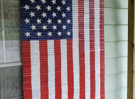 Create a US Flag from a Bamboo Blind!