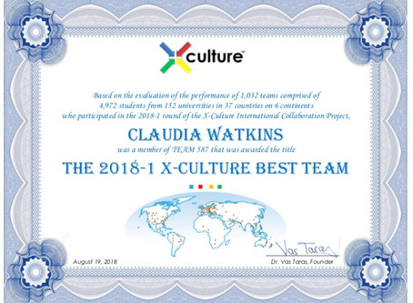 "Winning The 2018 X-Culture ""Best Team"" Award"