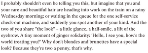 'Brunettes & Blondes are two a penny?' The Redhead Superiority complex