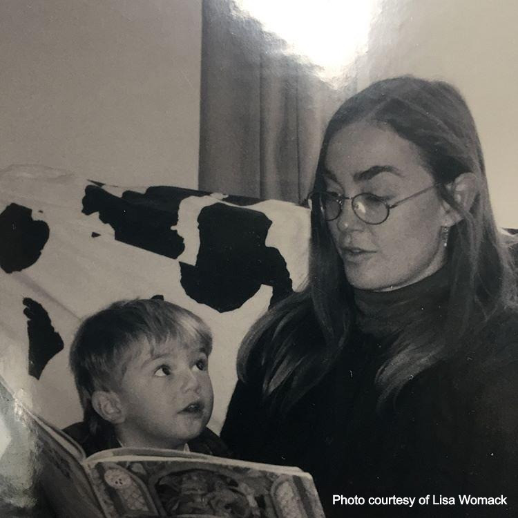Young Lil Peep reading with his mother, Lisa Womack