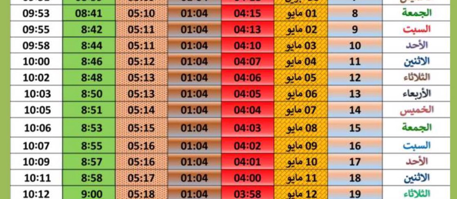 Fasting and Iftar Timetable