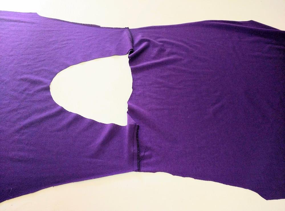 Shoulder seams serged and neckline