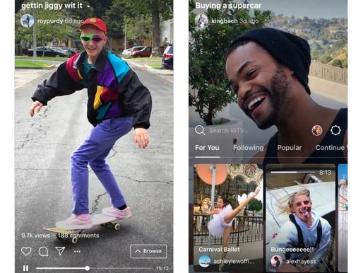 Instagram lança o IGTV, um App de vídeos verticais de até 60min.
