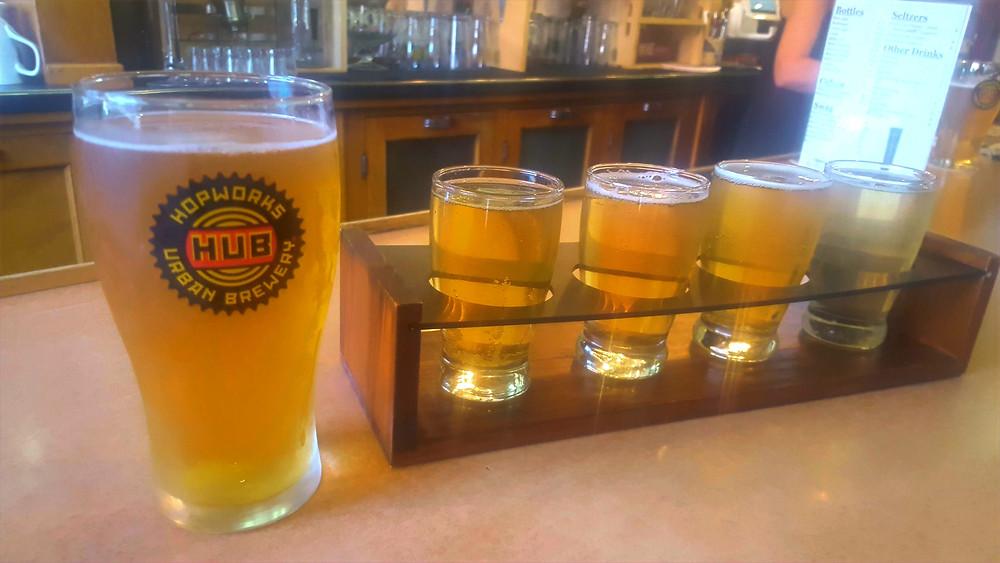 Local beer flight.