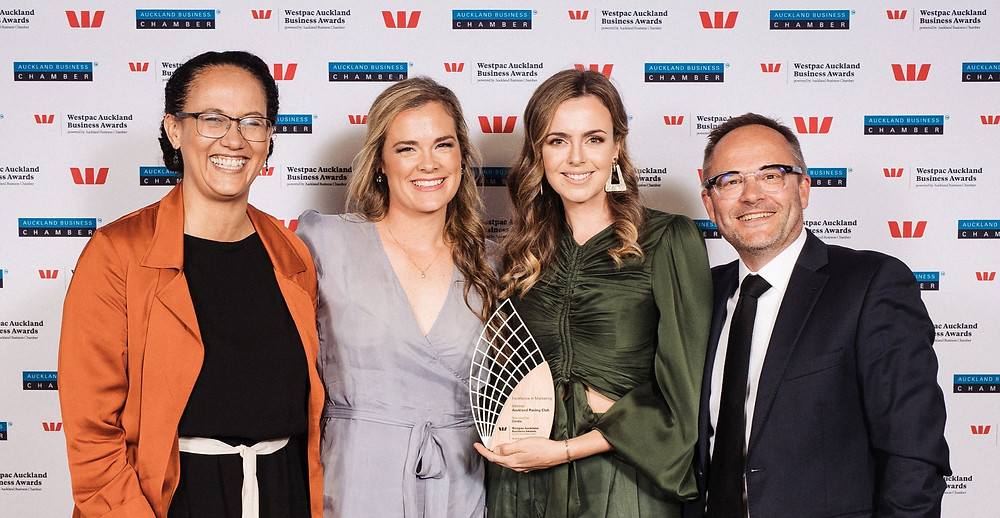 Team Auckland Racing Club: From left, CFO, Margaret Germain; Senior Brand Manager, Laura Madden; Executive General Manager - Marketing, Olivia Kinley; CEO, Paul Wilcox
