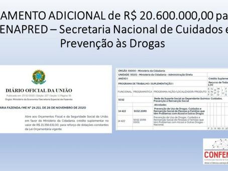 Governo Federal aporta R$ 21,3 milhões para o financiamento de vagas em comunidades terapêuticas