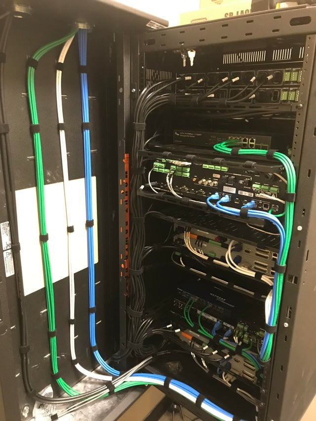 Video Cabling - Blue Data, Mic Cabling - White Data,  Network - Green Data, Antenna - Black RG8, Speaker Lines - Grey Copper