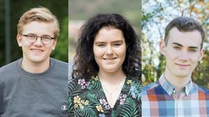Collage av tre ungdomskandidater