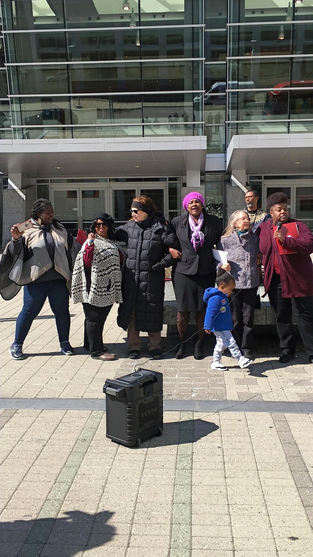 Pictured from left to right: Yolanda Taylor, Wanda Gilbert-Coker, Stefanie Mendell, Barbara Smalley-McMann, and Wanda Hunter