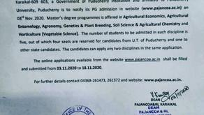 PAJANCOA & RI PG ADMISSION 2020-21 OPEN