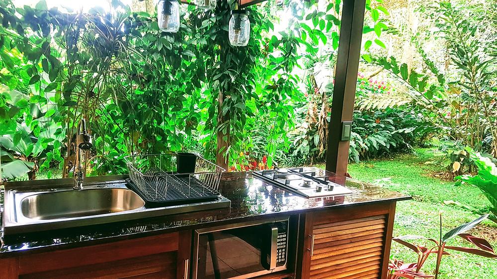 Evier, plaque de cuisson, four à micro ondes des cuisines d'été devant un paysage de nature