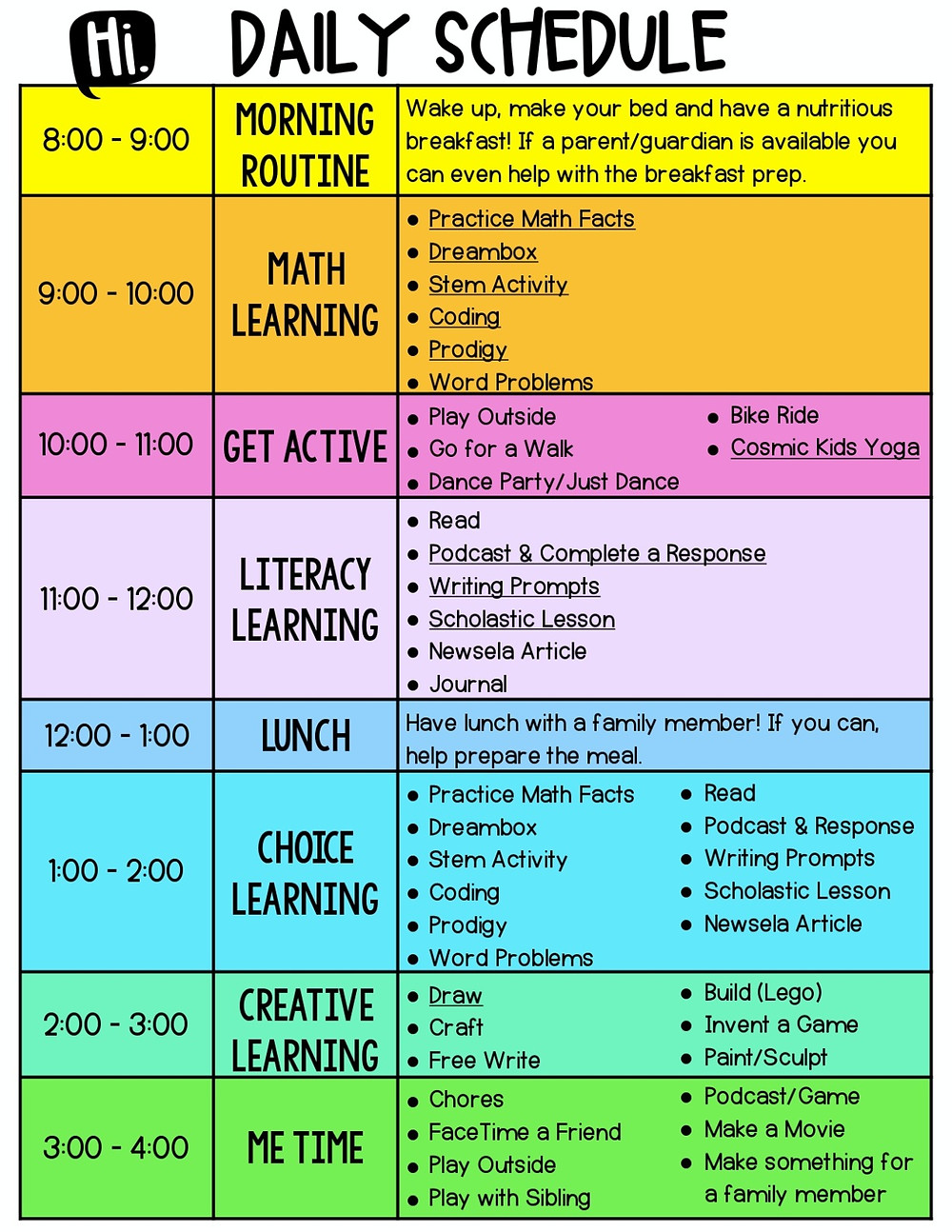 Daily schedule from https://www.lessonsforlearning.com/