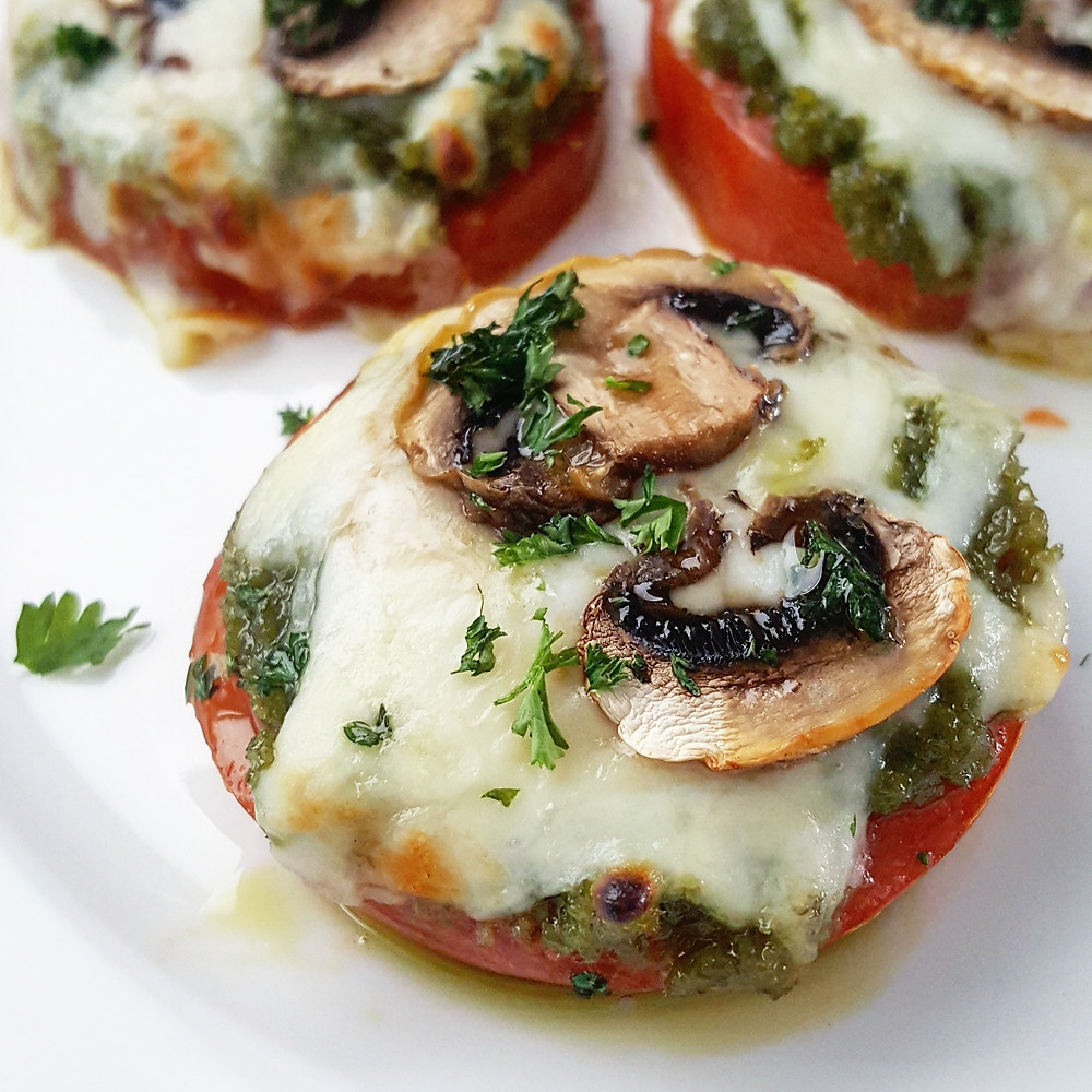 Baked Tomatoes with Garlic Scape Pesto, Mozzarella & Mushrooms | Low Carb | Keto