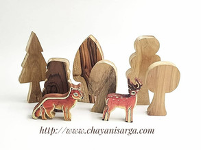 Wooden tree toys for Jungle animals