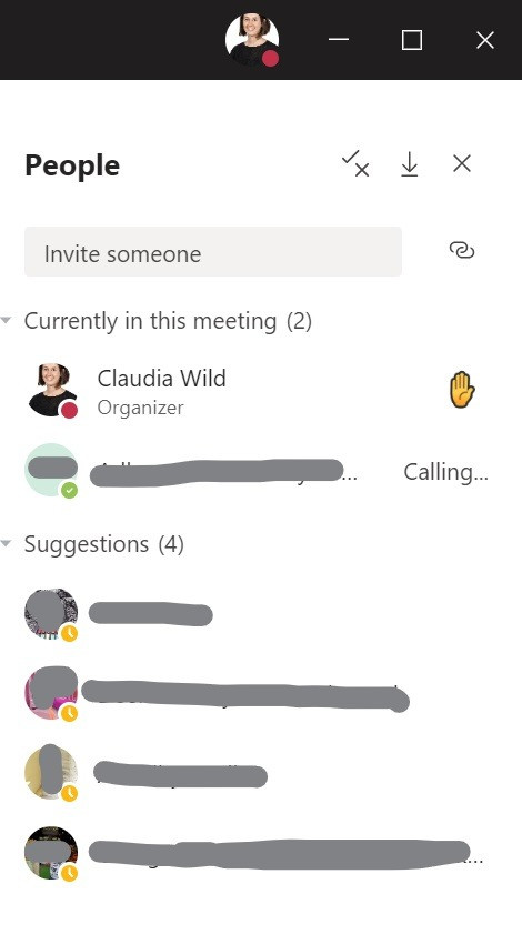 a raised hand icon in a microsoft teams meeting participant list