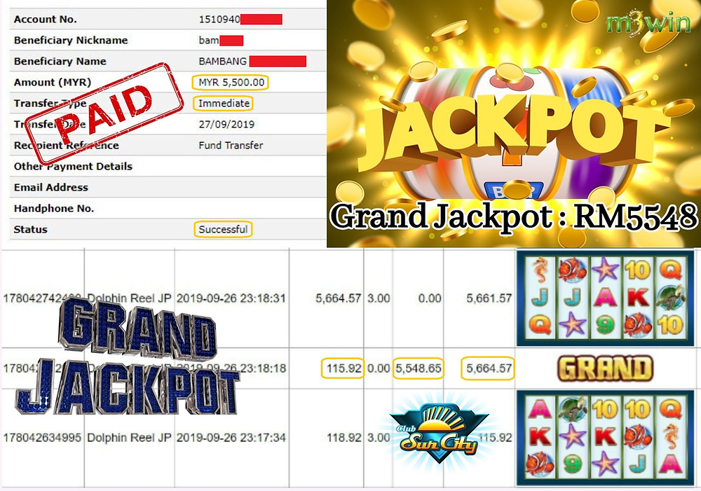m3win member won a Grand Jackpot at Club Suncity slot games.