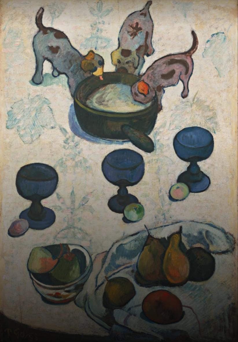Paul Gauguin, natureza morta com três filhotes de cachorros