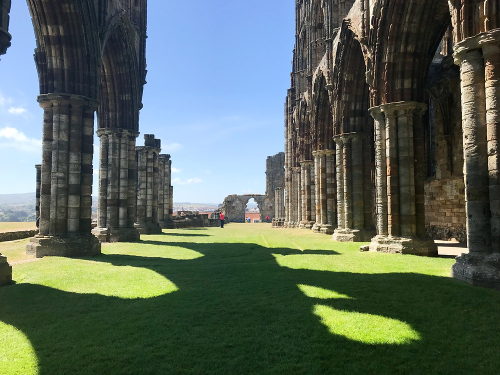Whitby Abbey from inside of the ruins in England