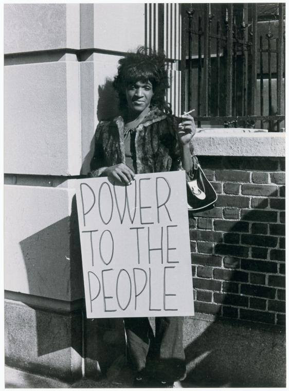 black and white photo of trans and gay rights activist Marsha P. Johnson