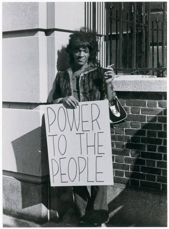 black and white photo of trans and gay rights activist Marsha P. Johnson