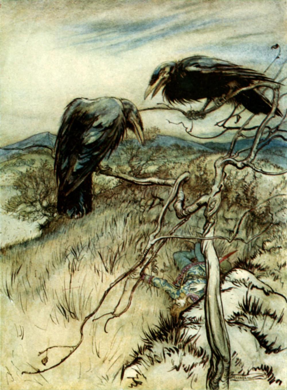 The Twa Corbies, illustration by Arthur Rackham