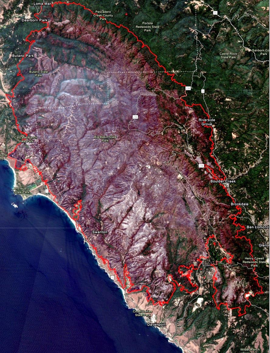 Fire perimeter map of CZU Lightning Complex Fire in Santa Cruz County, California