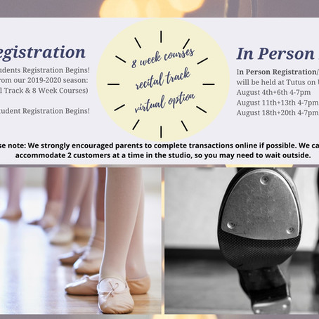 Online/In Person Registration Dates