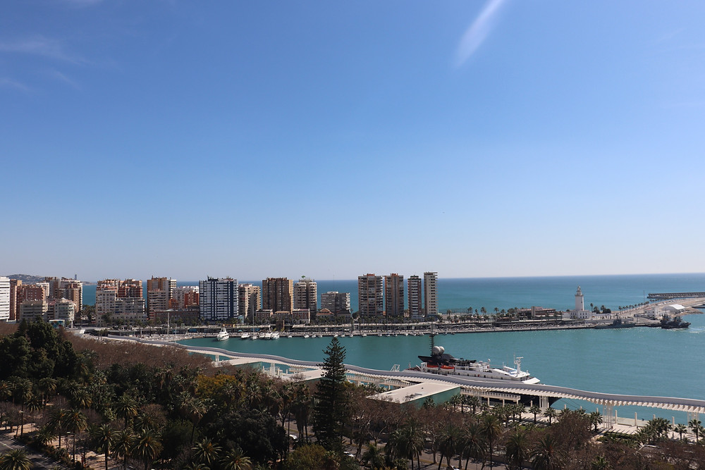 View of malaga's waterfront from above southern spain