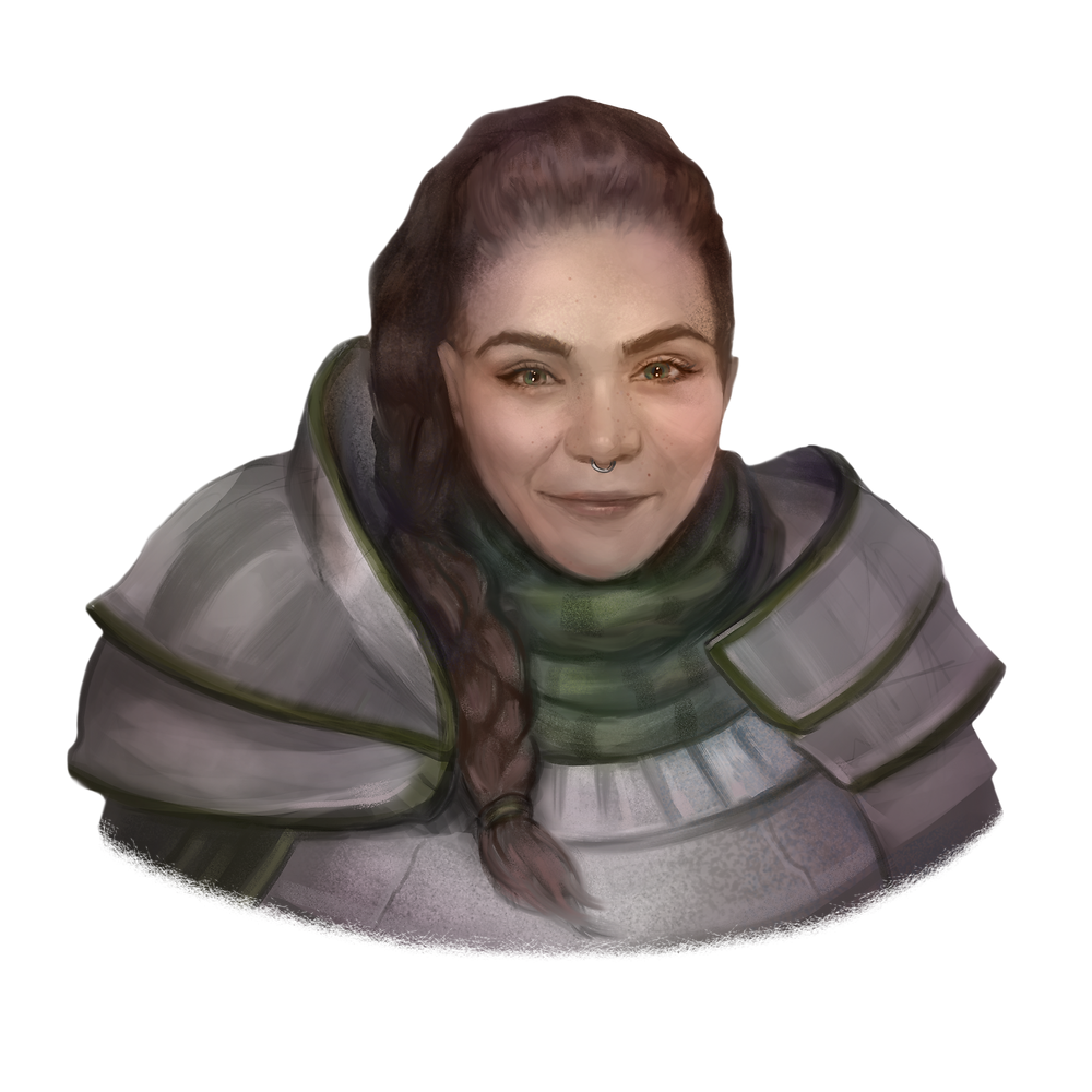 Light-skinned female paladin wearing heavy armor. Her long dark brown hair is pulled back into a braid that wraps to the side and cascades down her shoulder. The charcoal gray armor is accented by forest green fabrics which compliment her green eyes. A small silver ring is through the septum piercing at the bottom of her nose.