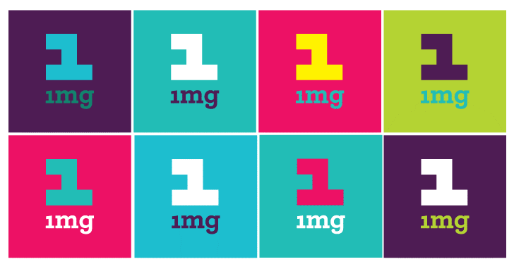Multi-colour logo of 1MG