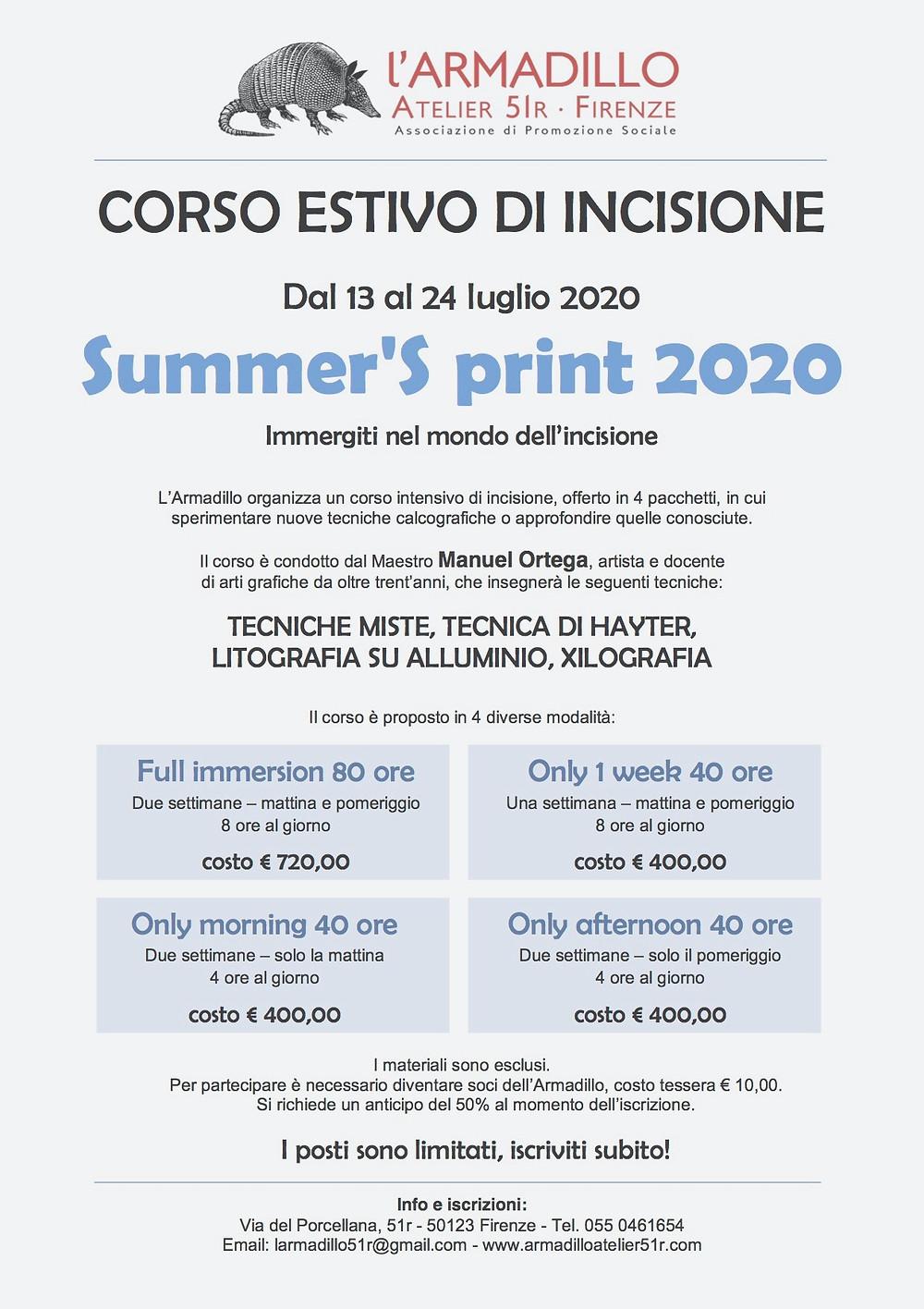 Corso estivo di incisione 2020 tenuto da Manuel Ortega