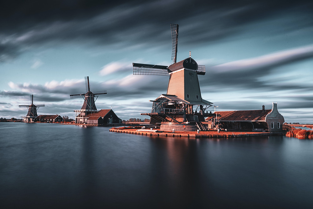 Windmills of Zaanse Schans in Zaanstad, Netherlands