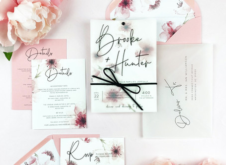 Gussy Up your Invites - Blush Watercolor Floral Vellum Overlay Invitation Suite