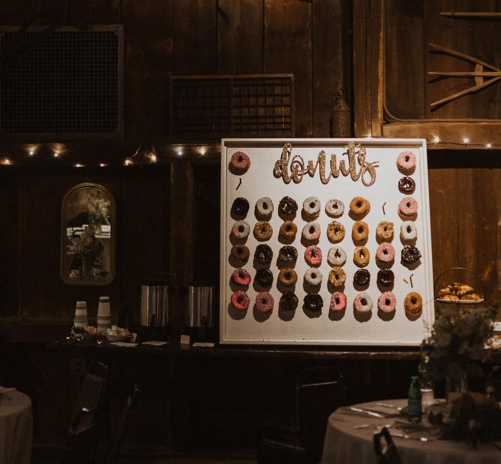 Connecticut Webb Barn Wedding reception donut wall, Evergreen Photography